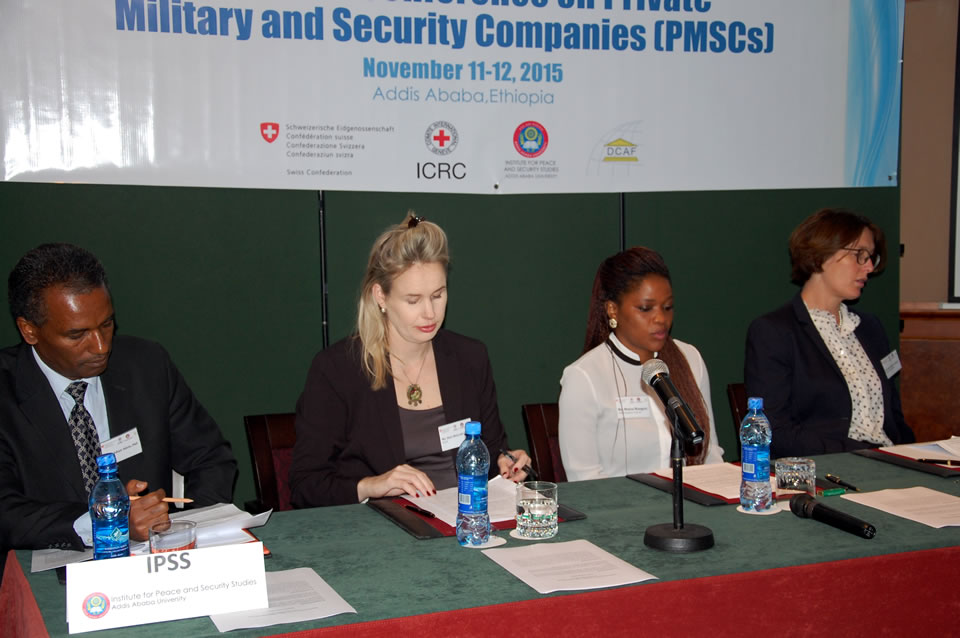 Addis Ababa, November 2015. From left to right: Dr. Yonas Adaye Adeto, Academic Director, IPSS, Ethiopia ; Ms. Alice McGrath-Crégut, Programme Manager, DCAF Geneva; Ms. Mutsa Mangezi, ICRC Deputy Head of Delegation to the African Union; Ms. Anne-Béatrice Bullinger, Deputy Head of Mission, Embassy of Switzerland to Ethiopia.