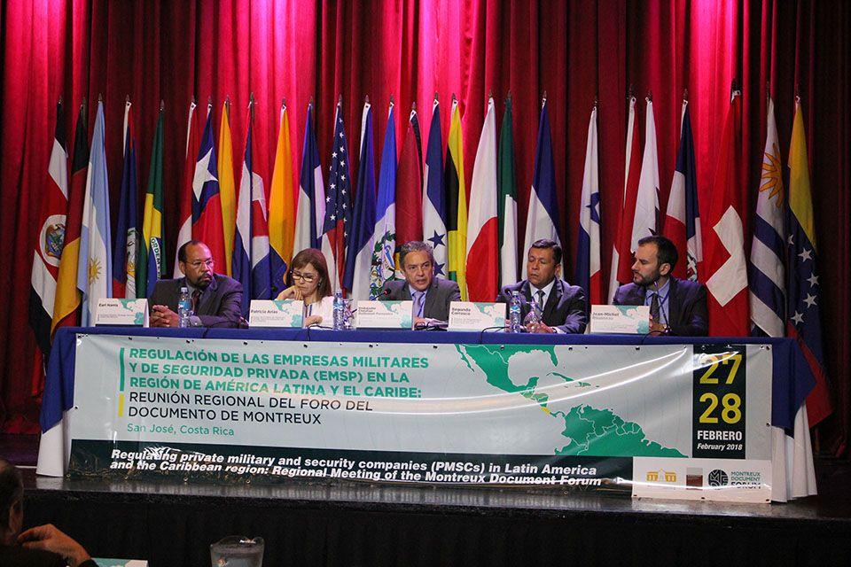 Regional Meeting in San José, Costa Rica. (From left to right: Earl Harris, Patricia Arias, Embassador Christian Guillermet-Fernandez, Segundo Carrasco, Jean-Michel Rousseau)
